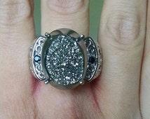 Platinum Drusy Quartz & Black Spinel Ring Platinum Overlay 15.90 Cts