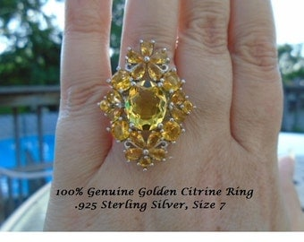 Genuine Golden Citrine Ring
