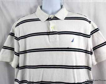 vtg 90s Nautica short sleeve striped polo Size: Men's Large, very heavy material - desinger - polo by ralph lauren