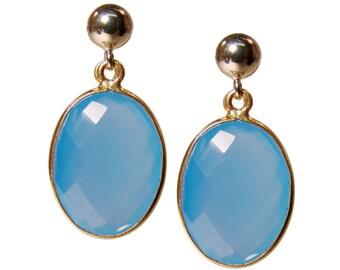 Gemstone earrings with chalcedony