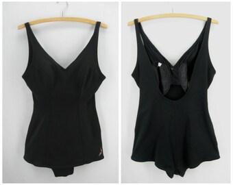 Vintage 50s Jantzen swimsuit, 1950s black swimsuit, black knit bathing suit, pinup swimsuit, size large swimsuit