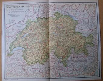 Vintage 1921 Map of Switzerland