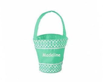 Personalized Pastel Green Easter Basket -  Geometric Pattern