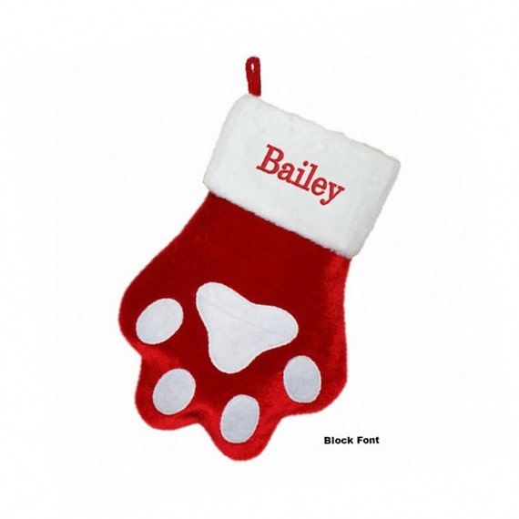 Personalized dog paw christmas stocking for Personalized dog christmas stocking