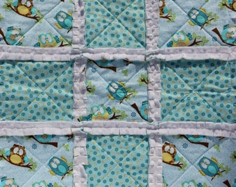 Lovie - Owls Turquoise & Yellow