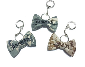 Military camo nametape mini bow keychain (army acu, multicam/ocp, airforce abu, navy nwu, navy nwu III, marine woodland/desert, coast guard)