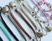 2 for 17!! Leather Pacifier Clip Leather Binky Clip Soother Clip Paci Clip