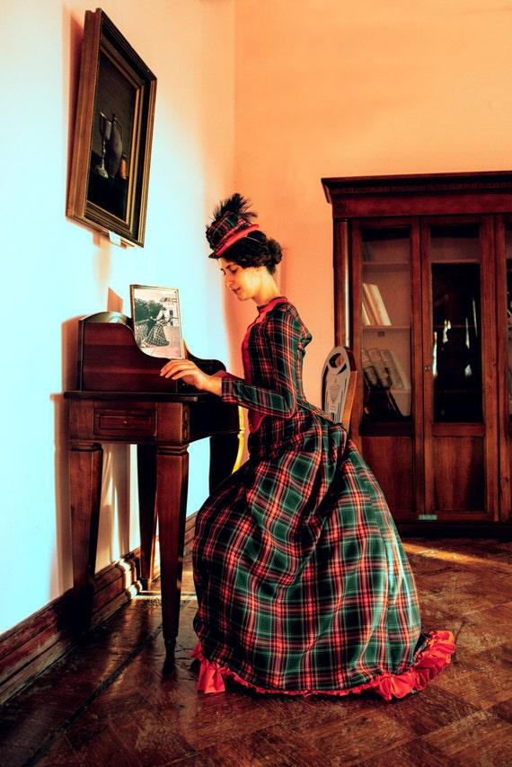 Victorian Walking Dress Bustle Era Plaid Costume 1880s Day Dress $470.00 AT vintagedancer.com