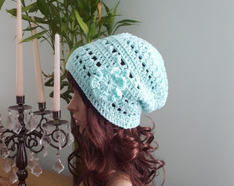 Crochet Woman Hat, Winter Hat, Spring Hat, Crochet Hat With Flower, Slouchy Beanie