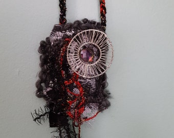 Fabric Necklace Fiber Necklace , Woman Necklace , Black and red Necklace, Art Necklace