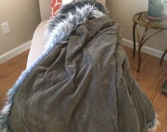Fur lined cloak with hood