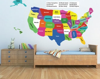 Usa Map Wall Decal Etsy - Us map wall decal