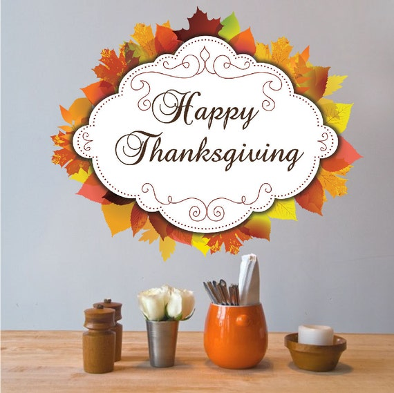 Thanksgiving decor autum decals fall murals thanksgiving for Thank you mural