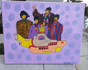 the beatles yellow submarine painting acrylic 20 by 16'' no frame