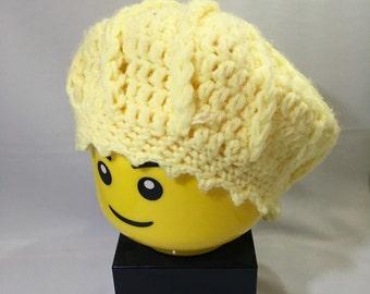 Handmade Crocheted Yellow Cream Colored Tam/Beret, Women's Hat, Headwear, Women's Clothing