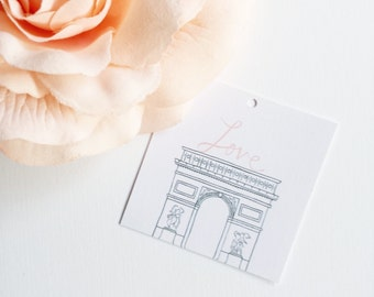 Luxury Linen From Paris With Love Mini Gift Tags