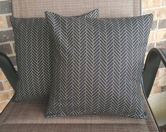 SALE* Black and Gold Chevron 14x14 Pillow Cover Set