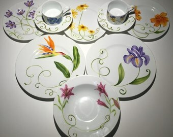 Gorgeous Vintage Botanical Flower Dinnerware Dish Collection - 18-Piece Set; Sold Individually or Cheaper as Set