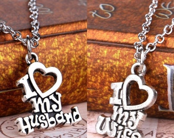 I love my wife necklace,I love my husband  necklace