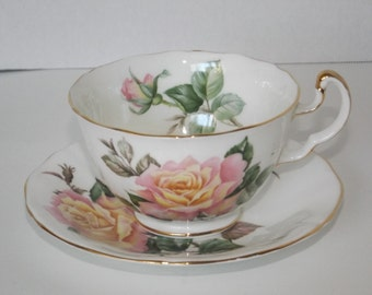 ADDERLY tea cup and saucer, Adderley Peace Pink Rose Fine Bone China Tea Cup & Saucer - Made in England