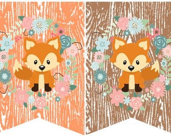 "Custom Made Woodland Fox ""Name"" Bunting Banner"