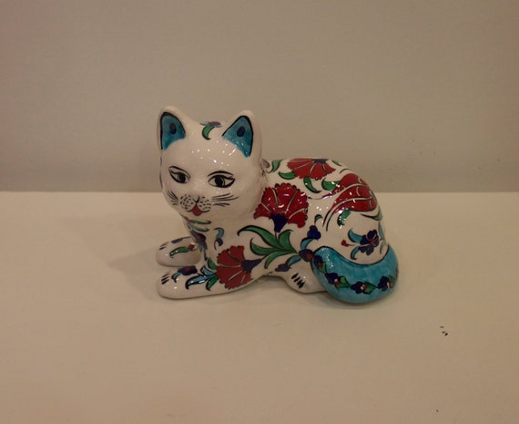 Colorful Floral Design Cat Trinket, Ceramic Cat Sculpture, Colorful Cat Trinket, Floral Design Ceramic Trinket, Cat Figure with Flowers