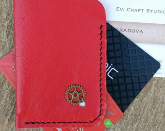 flat card wallet, Leather business Card Holder, credit card pocket, slim minimalist wallet, Steampunk wheel, Hand stitched red leather 37