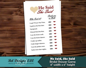 Bridal Shower Game / Engagement Party Game - He Said, She Said - Classic Red Heading - Instant Download / Printable