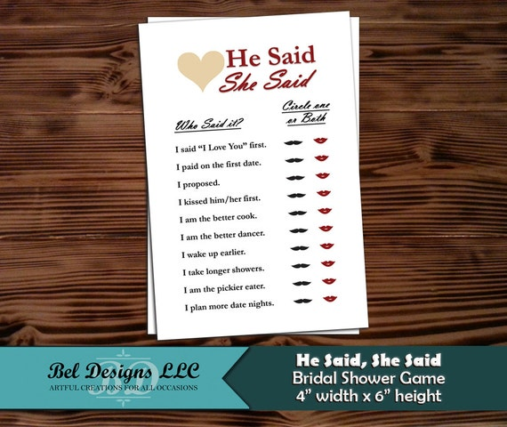 Bridal Shower Game / Engagement Party Game He Said She Said
