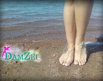 Gold Barefoot Sandal, Wedding Barefoot Sandal, Lace Barefoot Sandal, Barefoot Anklet, Foot Jewelry