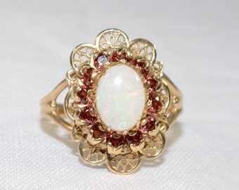 VALENTINES DAY SALE Vintage Victorian Style 10k Yellow Gold Lace and Opal Ring Size 7