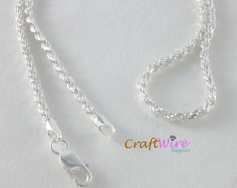 """925 Sterling Silver Rope Chain Necklace Italy 2.7mm 18"""" 20"""" 24"""" 30"""" Lobster Clasp, New, ready to wear, Made in Italy"""