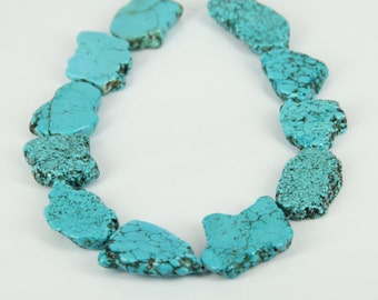 Approx 11pcs strand Sky Blue Turquoise Slice Beads Pendant,Drilled Flat Slab Magnesite Gemstone Necklace