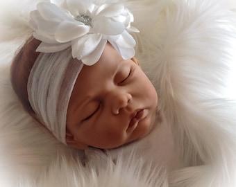 Newborn Baby Girl Headband, White Baby Flower Headband, Soft Baby Headband, Baby Photo Prop