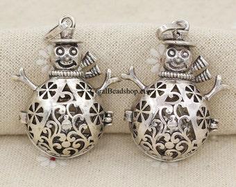 x0090-2pcs/lot Large Antique Snowman Cage Box Ball Locket Pendant Essential Oil Diffuser Necklace Making