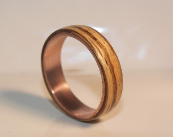 wooden rings bentwood copper and zebrano rings mens wood. Black Bedroom Furniture Sets. Home Design Ideas