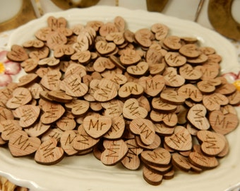 Mini Wooden Hearts, Scatter Hearts, Wood Hearts, Wedding Favours, Wedding Decor, Mr, Mrs, Bride, Groom