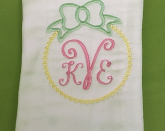 Embroidered Monogram Cloth Diaper Burp Pad