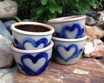 4 Vintage 1983 and 1985 Beaumont Pottery Salt Glazed Crock Pot Blue Heart & Wings