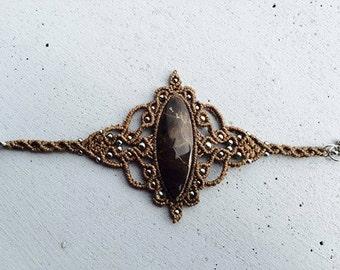 "Macrame bracelet with stone ""Jaspe de tortuga"" Mexican"