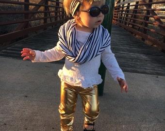 Gold leggings for kids, gold leggings, gold baby leggings, baby leggings, little girl leggings, gold pants, gold baby pants, handmade