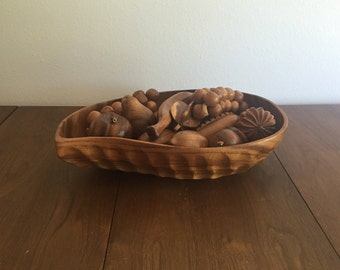 SALE - Vintage Monkey Pod Wood Bowl with Fruit