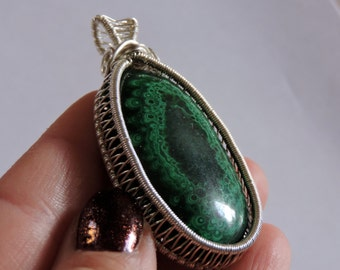 Malachite Wire Wrap Pendant