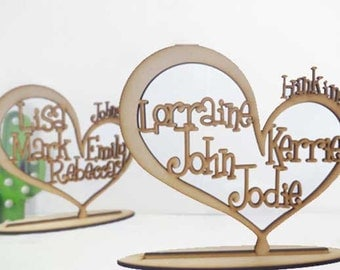 Wooden family Tree, Heart Shaped with family members names ,