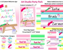 Art Party Invitation, painting party pack, girls arts and crafts party, art party pack, art party water bottle labels, favor toppers.