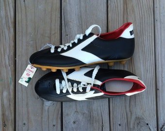 Brooks Soccer Cleats Black White 70's 8 NWT DEADSTOCK