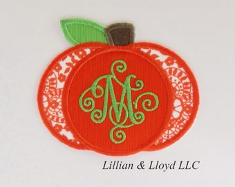Pumpkin with Scroll Letter Iron-On Applique/Pumpkin Iron On / Pumpkin Iron On Applique/ Thanksgiving Applique/Monogram Pumpkin/Fall Applique