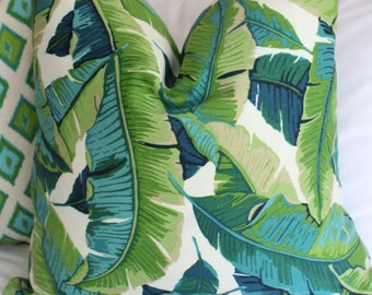 Palm print pillow cover // teal & green // Banana leaf Palm print pillow cover // richloom balmoral // chinoiserie // outdoor fabric