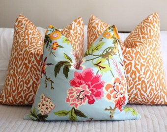 Waverly Candid Moment in cinnabar pillow cover, orange pillow cover, bird print cover, floral print, chinoiserie, gardenia, glacier