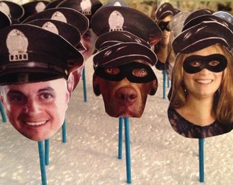 Cops and Robbers Photo Cupcake Toppers